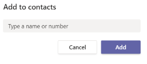 The add contact menu in Teams