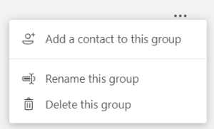 The speed dial group contact menu in Teams