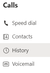 The call history menu on Teams