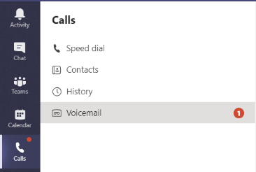 The voicemail notification in Teams