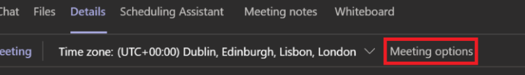 The meeting options in Teams