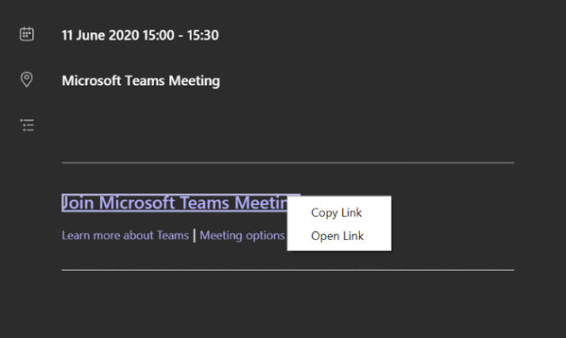 How to copy a join meeting link
