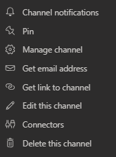 The more configuration options menu for channels in Teams