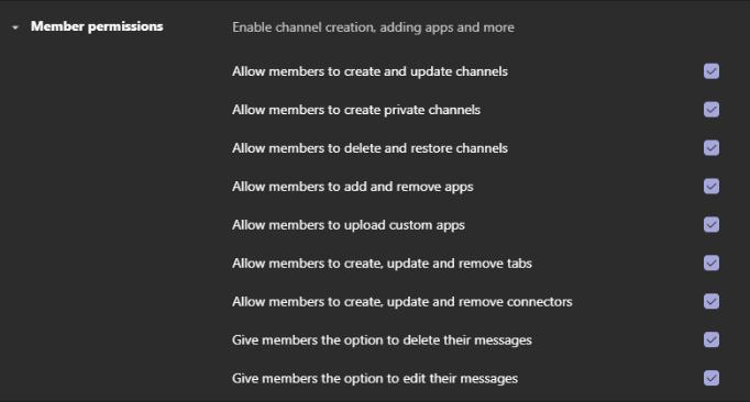 The member permissions menu in Teams
