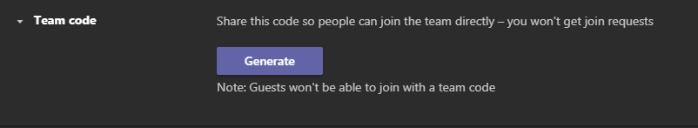 The Team code generate options in Teams