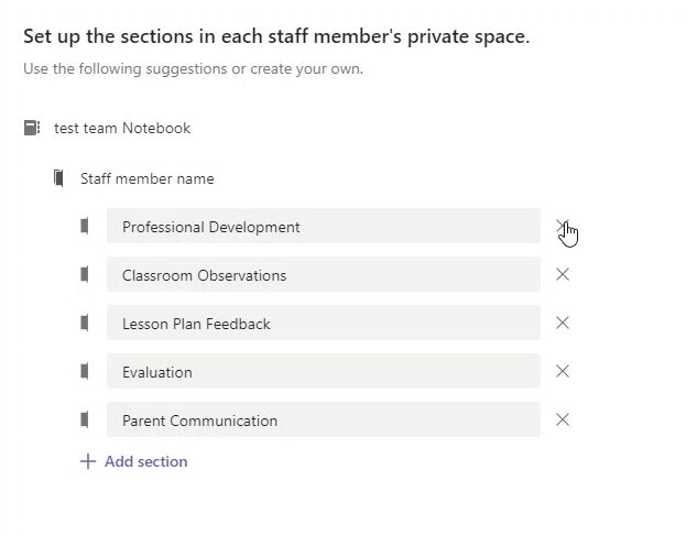 The section set up for staff notebooks in Teams
