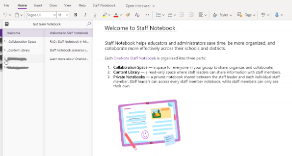 The final screen for Staff Notebook in Teams