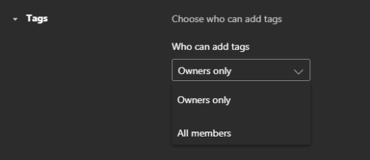 The settings menu for tags in Teams