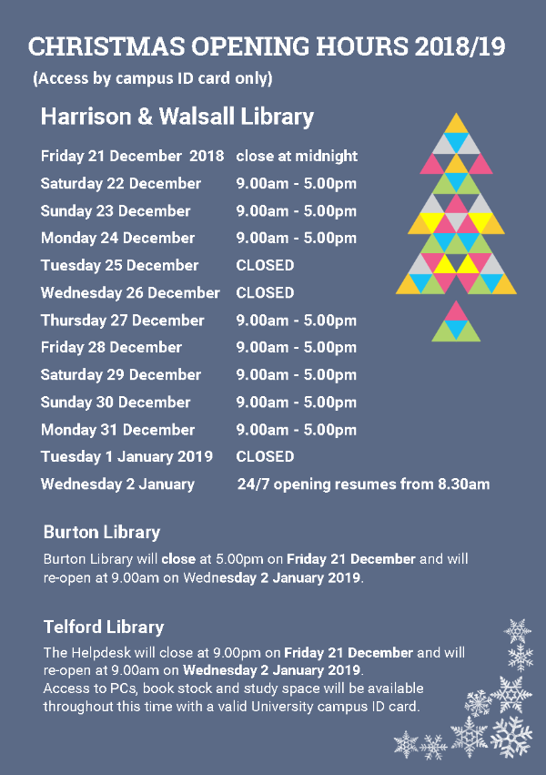 Christmas opening hrs 18/19 poster