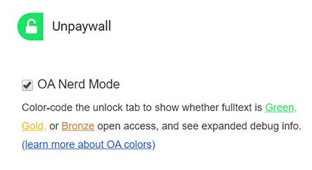 Unpaywall's colour code feature