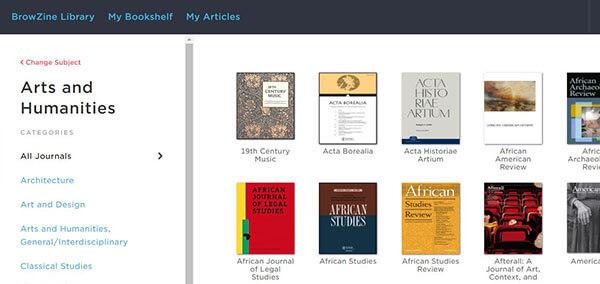 BrowZine interface browse journals