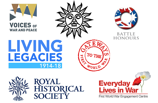 Logos of Helion & Company, Battle Honours Logo,the Arts & Humanities Research Council's First World War Public Engagement Centres and the Royal Historical Society.