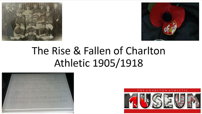 Rise and fall of Charlton Athletic FC - a collage of images including the logo of the Charlton Athletic Museum.