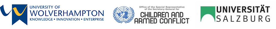 Logos of University of Wolverhampton, Office of the Special Representative of the Secretary-General for Children and Armed Conflict, Universitat Salzburg