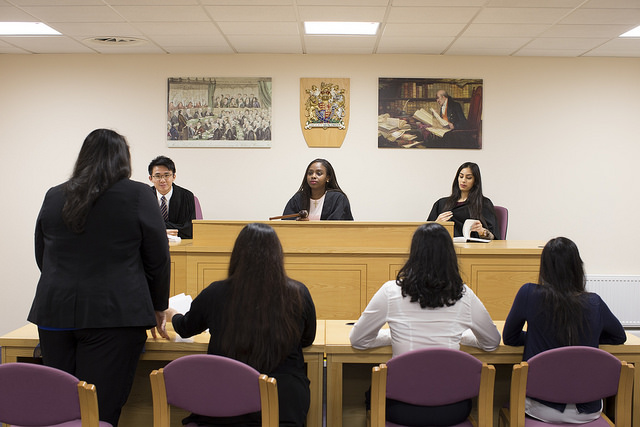 Students in the Law School's mock courtroom.