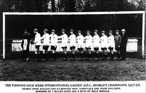 The 'World Champion' Dick, Kerr's Ladies  Granny Lizzy Ashcroft holding onto mate Lily Parr (with ball)  (Source: Author's collection)