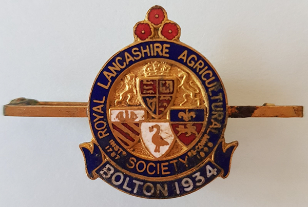 Medal awarded to Lizzy Ashcroft at the Royal Lancashire Agricultural Show 1934 'England v Belgium'  (Source: Author's collection)