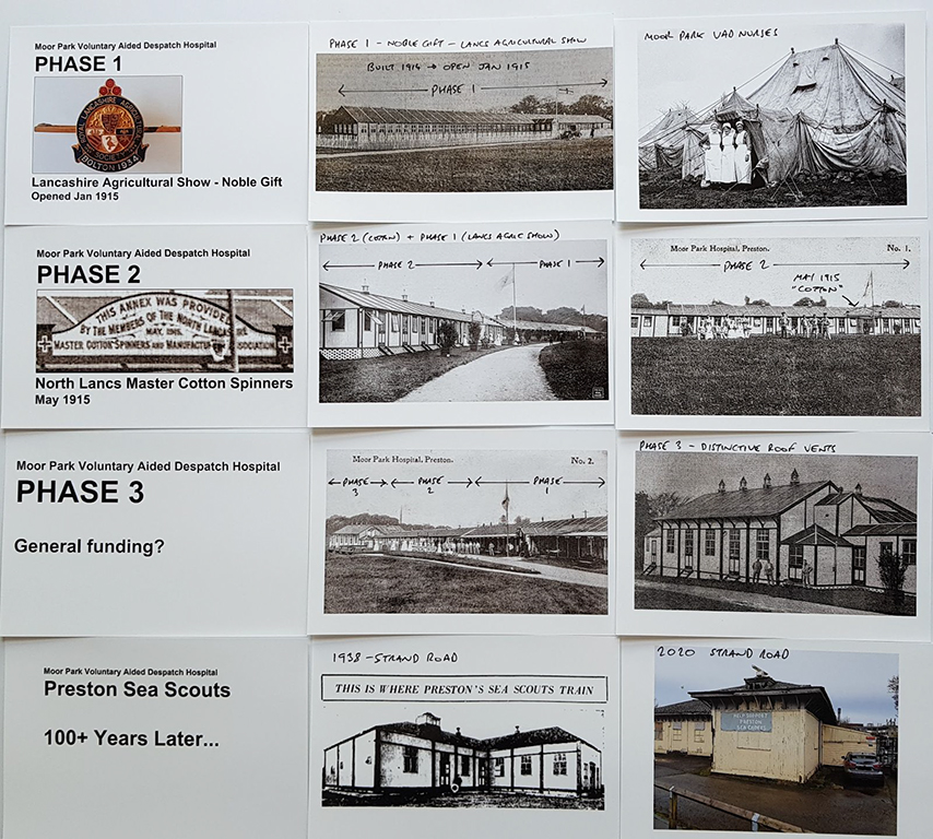 Moor Park VAD Hospital - Phases of Development  (Source: Author's collection and Preston Digital Archive)