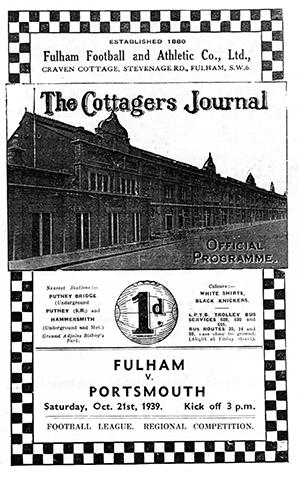 Portsmouth v Fulham Programme cover October 1939