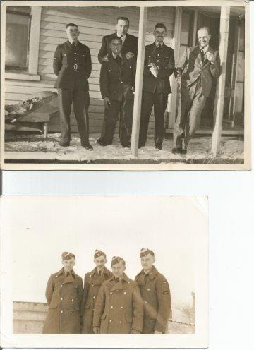 Group photos of Don Homer with crew mates, possibly taken in Canada. Photo J. Broad