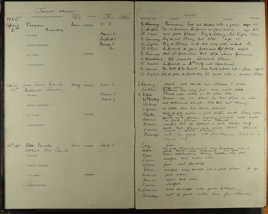 Jimmy Seed's London Junior League match diaries including mentions of Donald Homer. From the Charlton Athletic Museum's collection. Photo Paul Baker