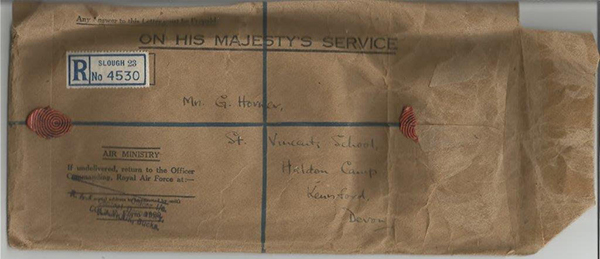 Parcel originally containing Donald Homer's RAF possessions sent to widowed mother. Photo J. Broad