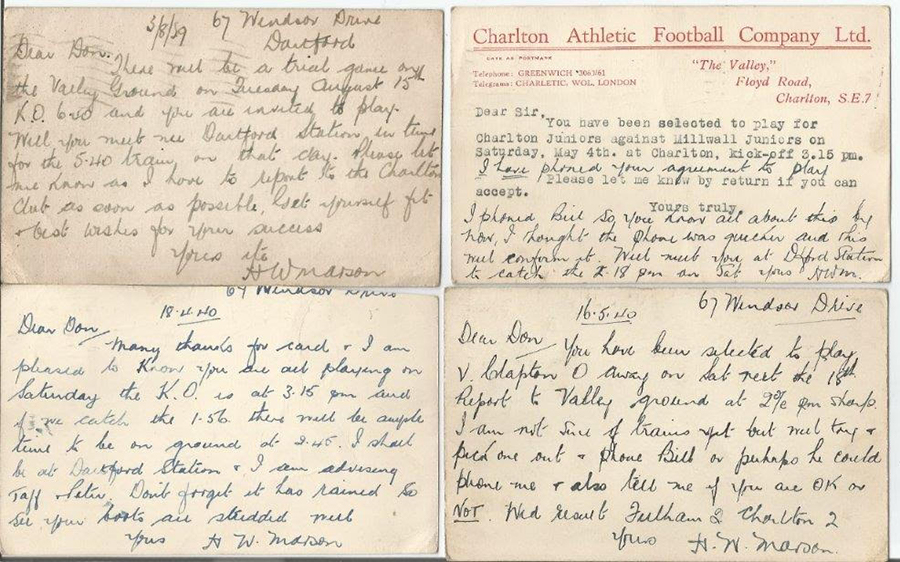 Postcards informing Donald Homer of his trial game and subsequent call ups. Photo: J. Broad