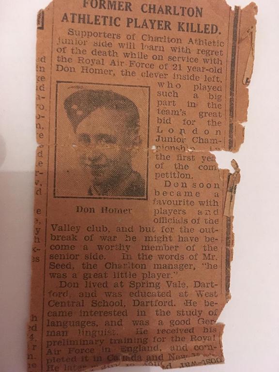 Press cutting (newspaper unknown) recording Donald Homer's death. Photo: J. Broad