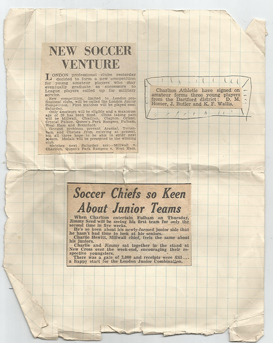 Press cuttings about the Junior League, Homer and other Dartford Youngsters signing for Charlton. Photo: J. Broad