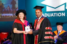 Deputy Vice-Chancellor Dr Anthea Gregory with M M Abdul Rahman Chairman of The British College of Applied Studies (BCAS) in Sri Lanka
