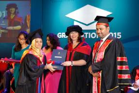 Deputy Vice-Chancellor Dr Anthea Gregory with M M Abdul Rahman Chairman BCAS during the graduation ceremony in Sri Lanka