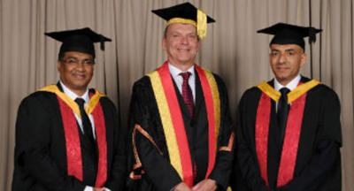 Mr Lefeer Muhamed Marakkarackayil, University of Wolverhampton Vice-Chancellor Professor Geoff Layer,  and Dr Abdullah Saif Ahmed Al Sabahi