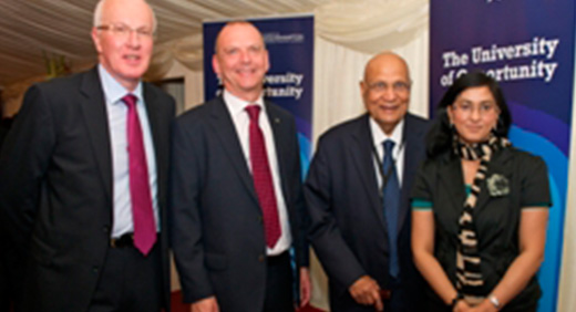 Chancellor Lord Paul of Marylebone and Vice Chancellor Geoff Layer, Michael Elliott, Chairman of the Board of Governors and graduate Sofina Islam,