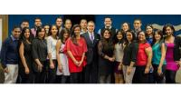 Dominican students and Ambassador