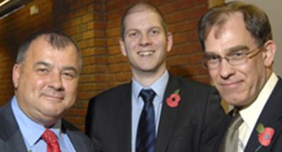 TUC General Secretary Brendan Barber, Gerwyn Jones and Dominic Wilson