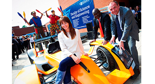 Faculty of Science and Engineering, Ndy Ekere, Suzi Perry and Vice-Chancellor, Professor Geoff Layer.