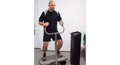 Adam Hawkey demonstrates the vibration training