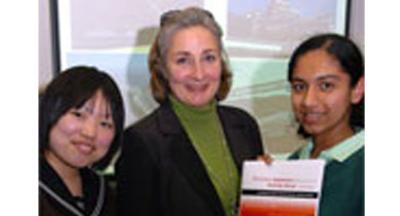 Image of 3 people who took part in the event which was about teaching pupils Japanese.