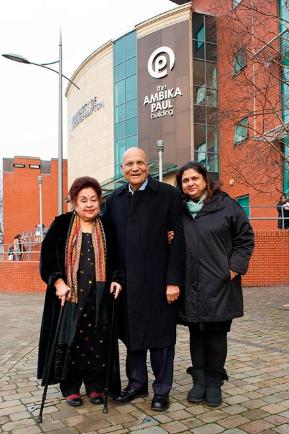 Lord Paul with Lady Paul and daughter Anjli outside the Ambika Paul Building.