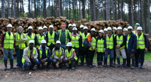 "Roger Wilson from the Forestry Commission with members of the ""Improving Forest Governance"" course delegation at Cannock Chase"