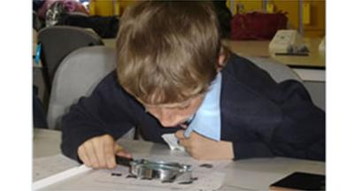 School Pupil looking at Fingerprints