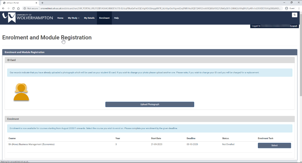 image of what enrolment page on eVision looks like