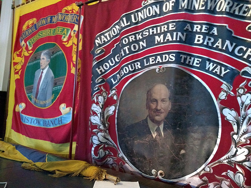 Banners of Dennis Skinner and Clement Attlee