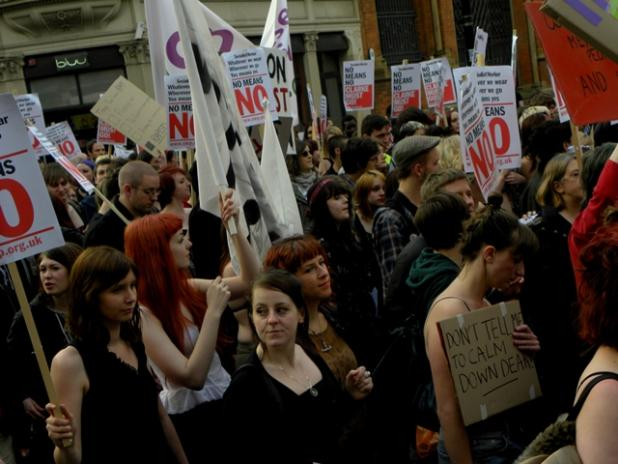 An image of a Slutwalk protest in Manchester